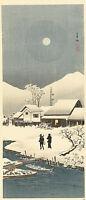 Snow Landscape in the Moonlight by Watanabe Shozaburo 100cm x 43cm Art Print