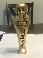 Ancient Egyptian gold gilded ushabti with heiroglyphics