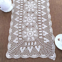 White Vintage Crochet Lace Table Runner Dresser Scarf Doily 15x59inch Cotton