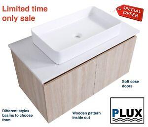 PLUX Luxury Bathroom Vanity Wall hung SoftClose unit 900x450x450 Stone top