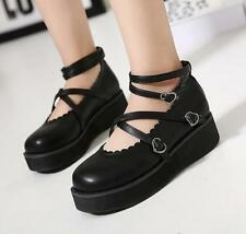 Womens round toe wedge heel lolita platform leather cross strap buckle shoes New