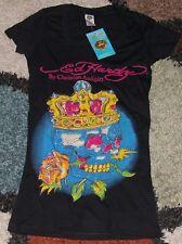 Ed Hardy Woman Rhinestone Cap Sleeve Crown Skull Tee shirt Sz S