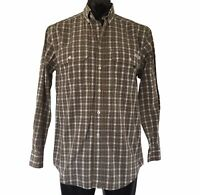 RM Williams Stockyard Mens Brown Check Shirt Size S Relaxed Fit Long Sleeve