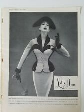 1954 Lilli Ann women's French velvet trim suit miniature vintage clothing ad