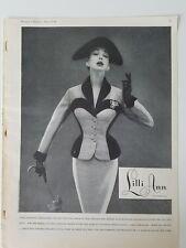 1954 Lilli Ann women's French velvet trim suit miniature vintage clothing ad