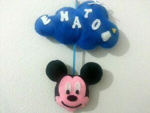 Fiocco nascita pannolenci feltro nuvola topolino personalizzata con nome