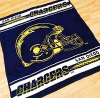 *RARE* San Marcos Hometex NFL Reversible San Diego Chargers Blanket Size 55x50