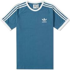 Adidas Originals 3 Rayas Camiseta Azul Hombre Retro Manga Corta Cuello Redondo