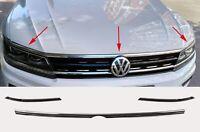 3.tg Kühlergrill Motorhaube Leisten Edelstahl Chrom für VW Tiguan 2