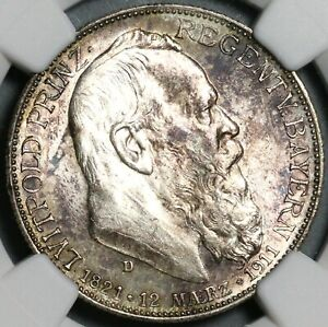 1911-D NGC MS 62 Bavaria Silver 2 Mark Luitpold German State Coin (21011203C)