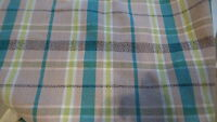 """Vintage Mid Century Retro COTTON RAYON WEAVE PLAID,Turquoise,Pink,Chartr 1Yd/50"""""""