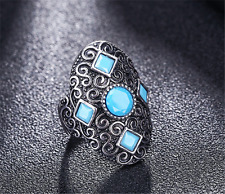 Luxury  Men's Woman Silver plated Inlaid Blue Stone Crystal Female Ring Size 10