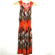 Womens Dress Size Small Sleeveless Brown Orange Peacock Feather Lace Collar