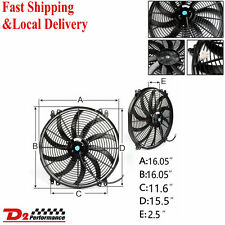 "16"" 12V PULL PUSH CURVED BLADE RADIATOR ELECTRIC THERMO FAN &MOUNTING KIT"