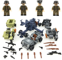 SET MILITARY WW2 Army Willis Jeep antiaircraft gun weapons Toys Custom