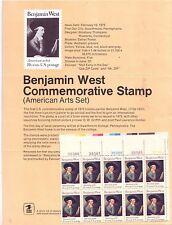 1975 SCOTT 1553 Benjamin West Commemorative 10¢ MNH OG PB Stamp Poster Bulletin