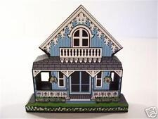Shelia's MINI Oak Bluffs BLUE COTTAGE Martha's Vineyard MA Wooden Shelf Sitter