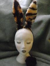 Tiger Print Rabbit Hare Ears & Clip On Faux Fur Tail Fancy Dress Hen Night Fab!