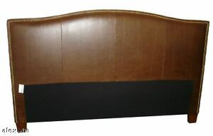Classic California King Size Genuine Leather Headboard for bed with nail heads.
