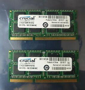 Crucial 8GB 2X4GB DDR3 2RX8 1600MHz PC3L-12800S 204pin Laptop Memory RAM Mac