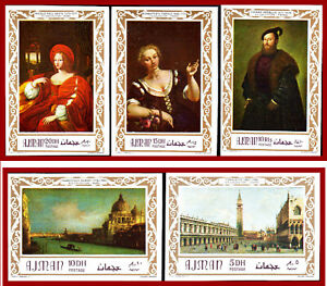 Ajman 1969 Art, IMPERFORATED set,** MNH, paintings by Tiepolo, Titian, Canaletto
