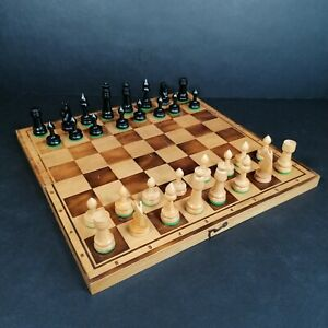Wooden Carved Folding Chess Set Complete Board Storage Box Portable PLEASE READ