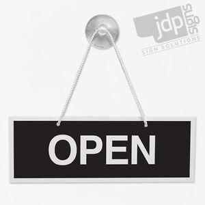 OPEN AND CLOSED 3MM RIGID 75MM X 210MM SIGN, SHOP WINDOW DOOR - 10 COLOURS