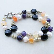 Collana di pietre naturali con agata e perle naturali