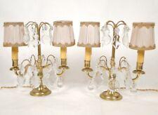 Paire de girandoles à pampilles, en bronze doré et cristal, XIXè