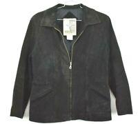 Middlebrook Park Men's 100% Leather Full Zip Long Sleeve Black Jacket Coat Large