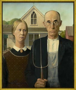 Framed Grant Wood American Gothic Giclee Canvas Print Paintings Poster