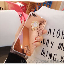 Hot Luxury Bling Diamond Chrome Mirror Phone Case with Metal Ring Holder Stand