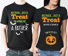 Halloween Pregnancy reveal daddy to be mummy to be black T-shirts set.