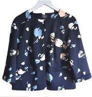 Marks Collection Navy Floral Cropped Soft Blazer Jacket 60s Jackie O Style 12