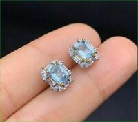 2.00 Ct Baguette Cut Aquamarine Halo Stud Women's Earrings 14K White Gold Over