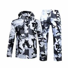 Camouflage Raincoat Motorcycle Rain Gear Men Fishing Camping Outdoor Hooded Suit