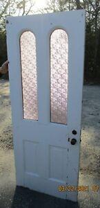 EXTERIOR DOOR 2 PANES PURPLE PRIVACY GLASS 2  HORIZONTAL PANELS