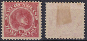 NEWFOUNDLAND CANADA 1887 Half Cent Victoria Rose Red SG-49 MH - US Seller