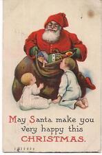 Santa Claus & Christmas Sack Of Toys For Girls & Boys Antique PM1915 Postcard