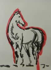 JOSE TRUJILLO - MODERN ABSTRACT EXPRESSIONIST INK WASH RED Horse Fine Art SIGNED
