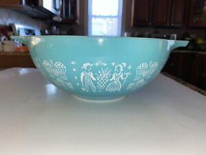 "Vintage PYREX ""Amish Butterprint"" Turquoise #444 4-Quart 10 1/4"" MIXING BOWL"