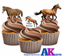 PRECUT Happy Birthday Horse 12 Edible Cupcake Toppers Birthday Party Decorations