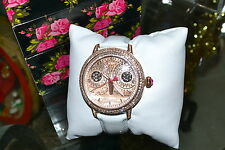 $175 BETSEY JOHNSON Rose Gold OWL Glitz Watch White Patent Leather Ltd Edition