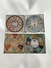 Glass Coaster Set Of 4 Old Town Clocks Chateau Canet Clement Audierne Bordeaux