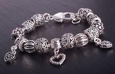 Bettelarmband Damen Armband Schlangenkette Beads Anhänger Silber Farbe