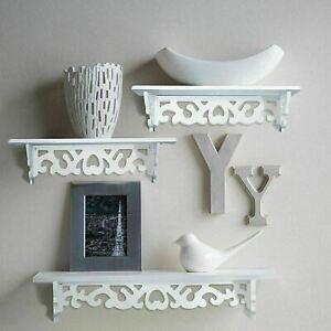 3 Ornate Wall Shelves White Filigree Floating Storage Display Unit Home Decor