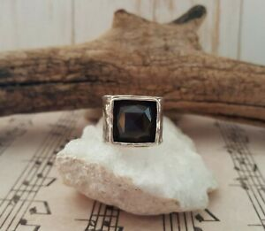 Silpada Smoky Quartz Hammered Wide Band Size 8 Sterling Silver Ring R1453