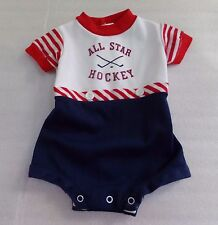 Vtg Boys One Piece Southern Bubble Striped Red White Blue Hockey Sz 9 Months 9M