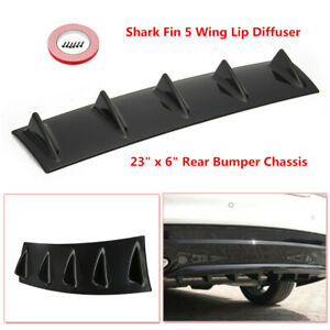 23 Inches Shark Fin 5 Wing Lip Diffuser Rear Bumper Chassis ABS Black