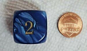 "Koplow's Backgammon Doubling Cube - Pearl Navy - 22mm (7/8"") Royal Blue w/Gold!"